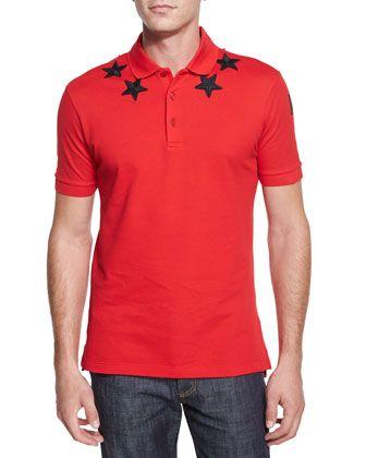 Star-Print+Knit+Polo+Shirt,+Red+by+Givenchy+at+Bergdorf+Goodman.