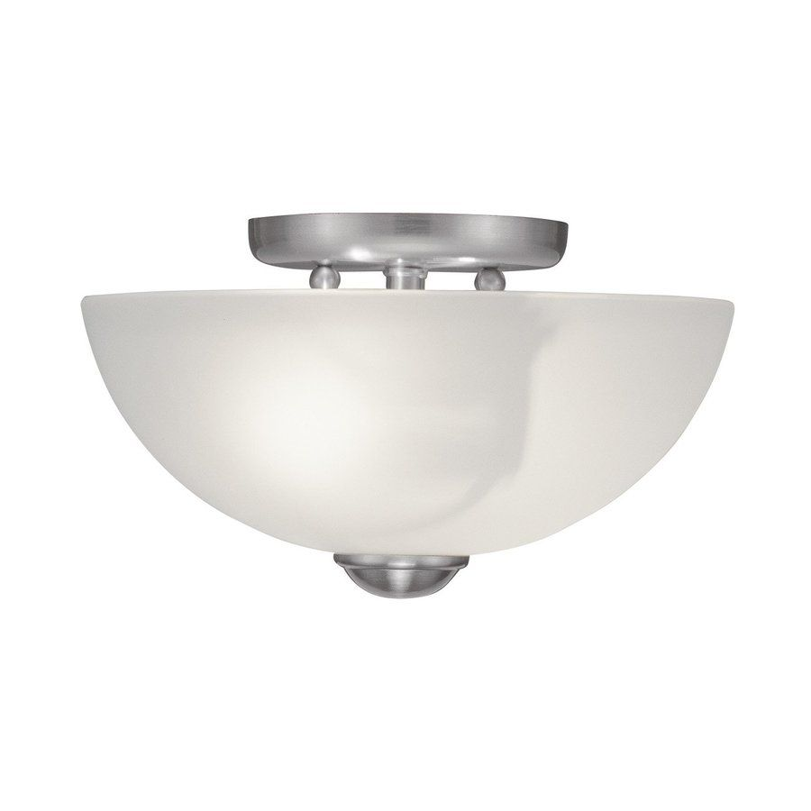 Livex Lighting Somerset 11 In W Brushed Nickel Frosted Glass Semi Flush Mount Light Livex Lighting Flush Ceiling Lights Semi Flush Mount Lighting