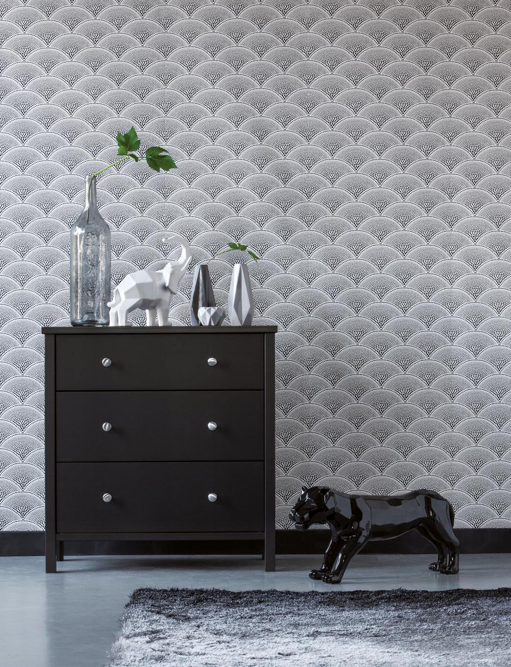 Commode 3 tiroirs ORNELLA Noir | Place au rangement ! | Curtains ...