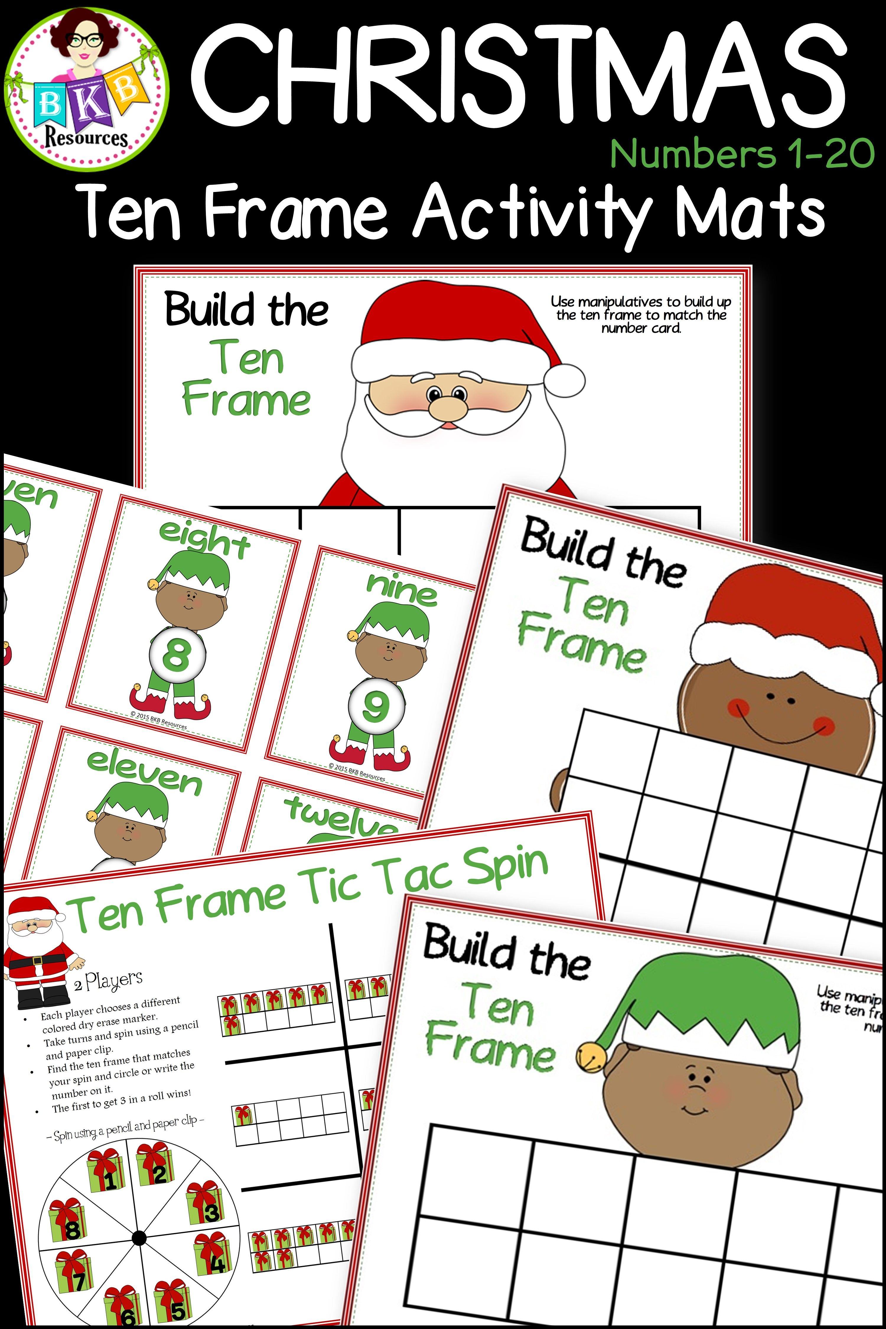 Christmas Ten Frames Christmas Math Games Numbers 1 20