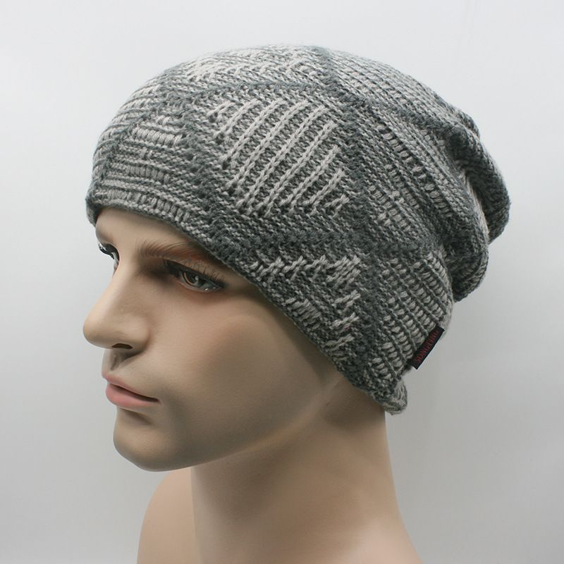 Warm Thick Knit Wool Slouchy Beanies Cap Snowboarding Knitted Winter Hat  Grey 09c162f92c6