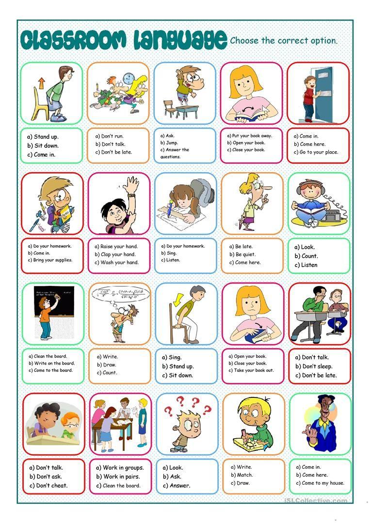 Classroom Language Multiple Choice Worksheet Free Esl Printable Worksheets Made By Teachers Classroom Commands Classroom Language English Classroom