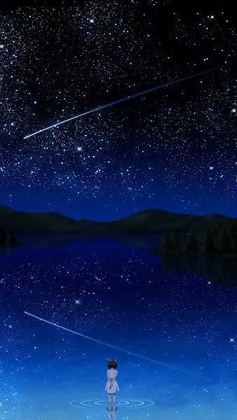 Anime Night Sky Stars Lake Landscape Scenery 4k 3840x2160 Wallpaper Night Sky Wallpaper Sky Anime Night Scenery