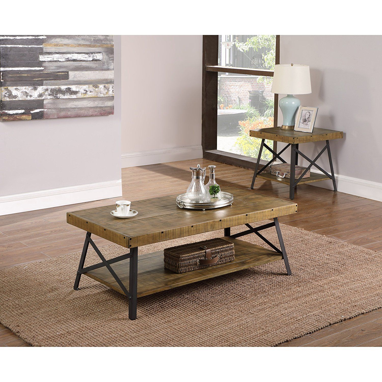 Amazon Com Emerald Home Chandler Rustic Industrial Solid Wood And Steel Coffee Table With Open Shelf Kitche Coffee Table Steel Coffee Table Rustic Industrial