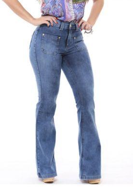Calça Handara Flare Cintura Alta Jeans  17fedb11caf