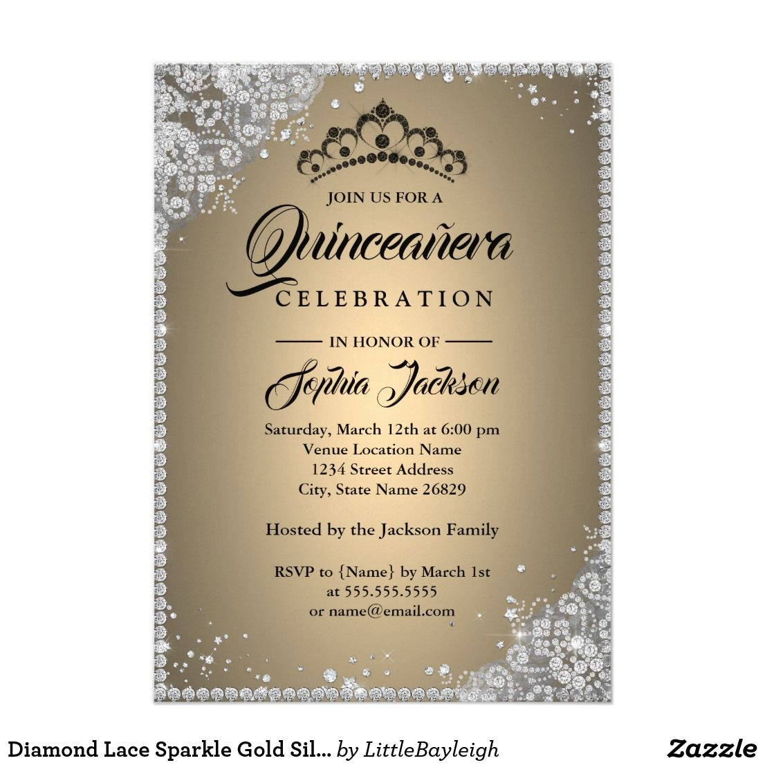 Diamond Lace Sparkle Gold Silver Quinceanera Invitation