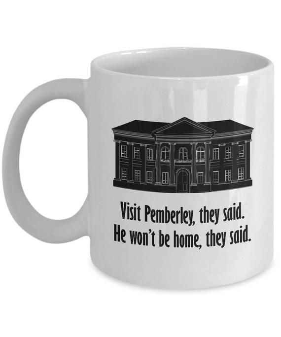 Visit Pemberley Funny Mug Gift for Wife Girlfriend Couples Pride and Prejudice Jane Austen Darcy Lizzy Coffee Cup #prideandprejudice