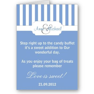 Blue candy stripe Candy Buffet Poem Card | Zazzle.com ...