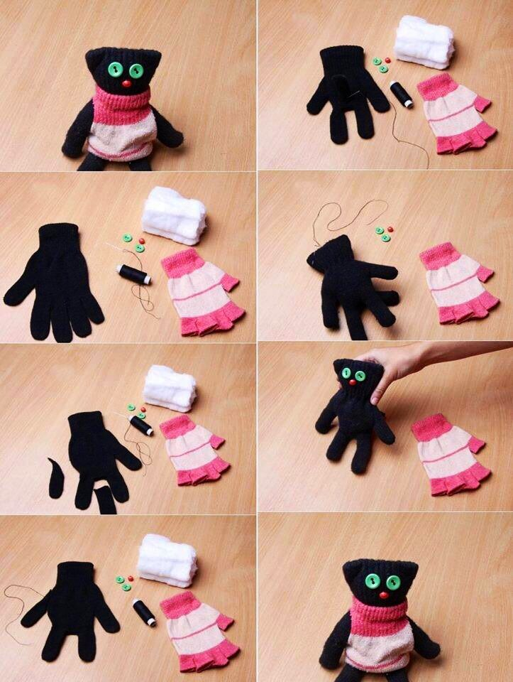 Make a cat / owl doll out of mittens how to craft