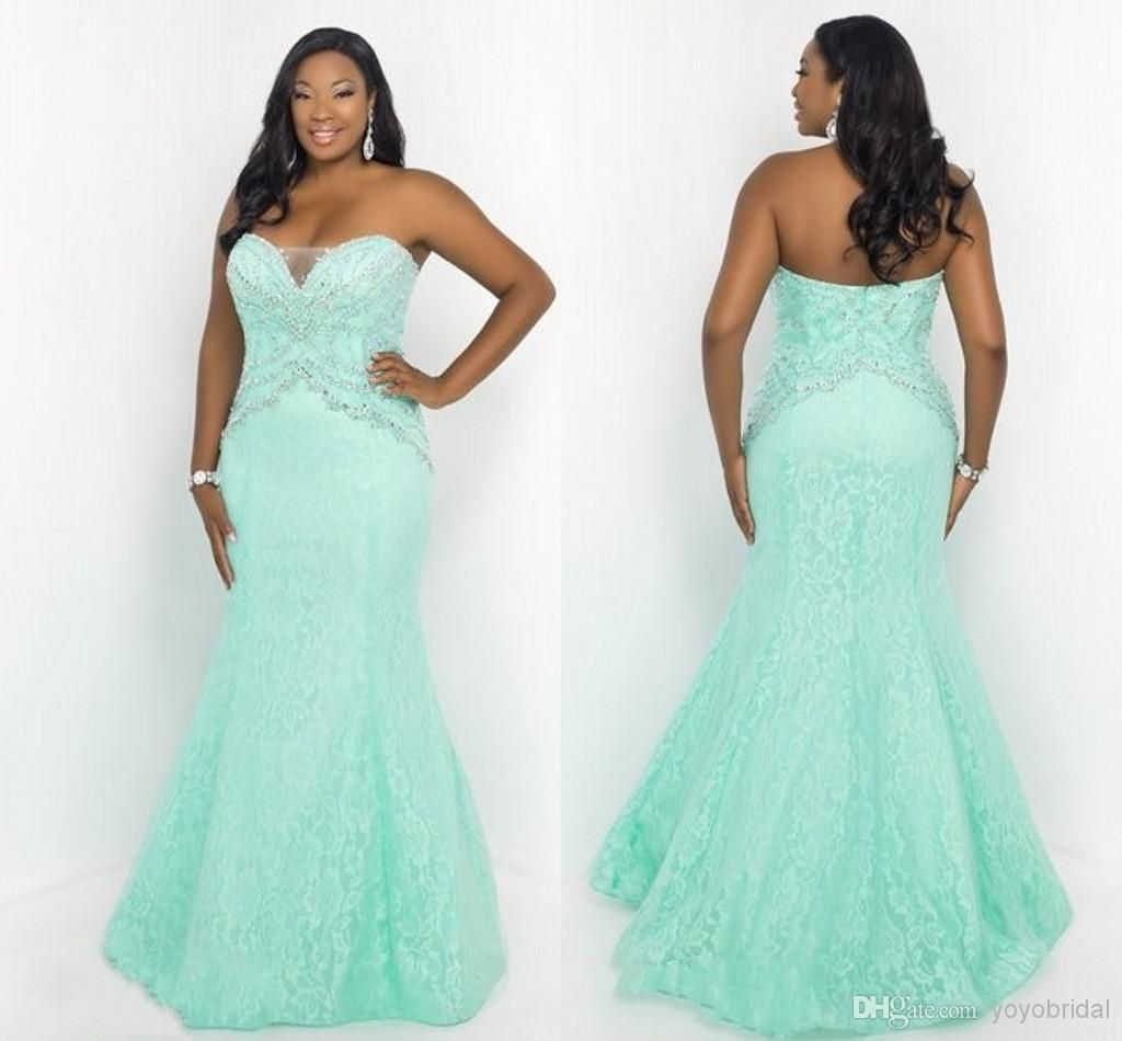 2015 Fashion Mint Lace Plus Size Mermaid Crystal Prom Evening ...