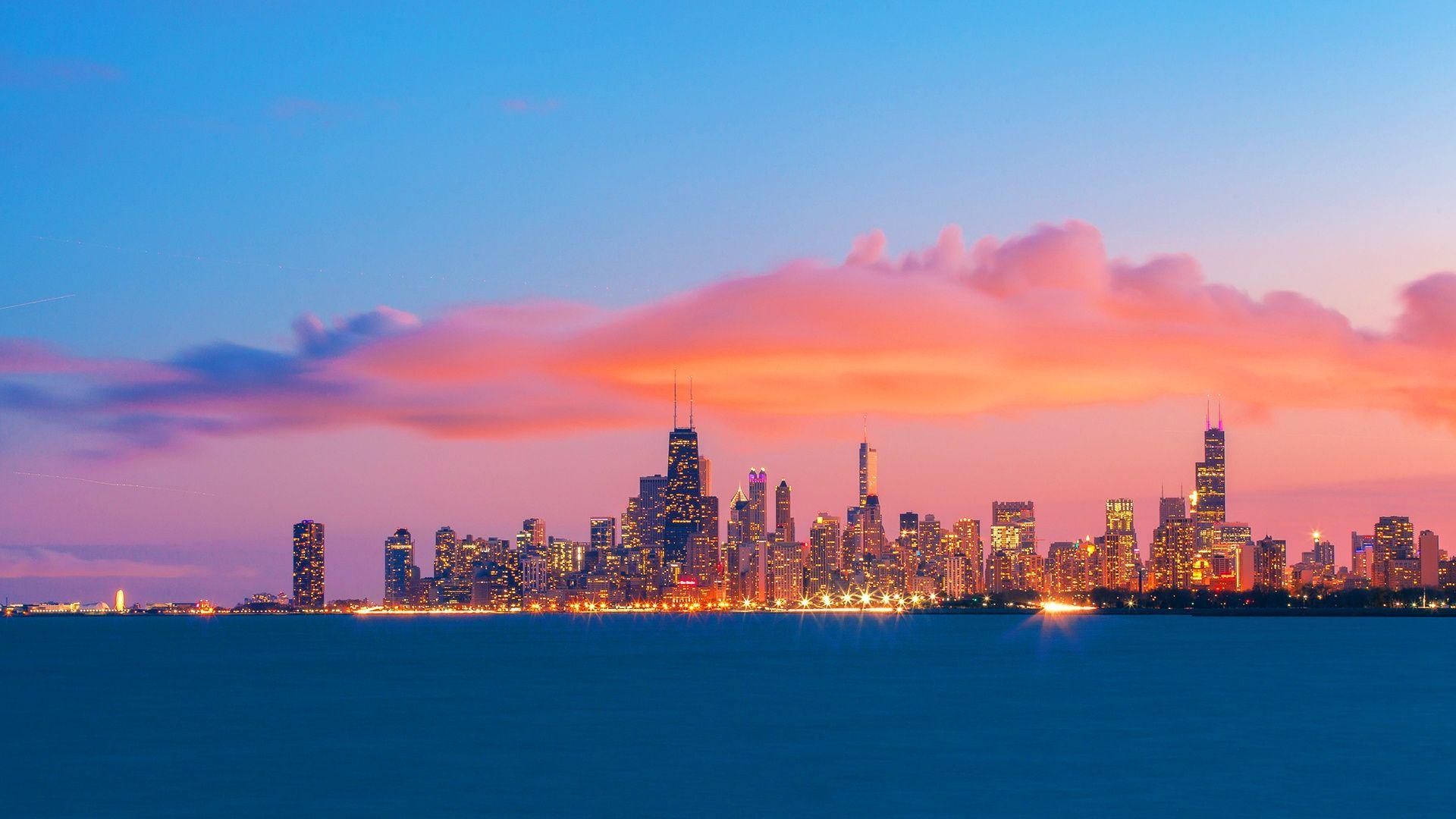 Chicago skyline sunset wallpaper – cbeb skies