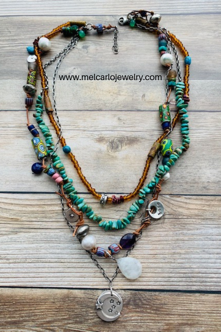 Mala beads necklace Bohemian jewelry Tribal necklace Sterling Silver Coin necklace Handmade jewelry Boho necklace Tassel necklace