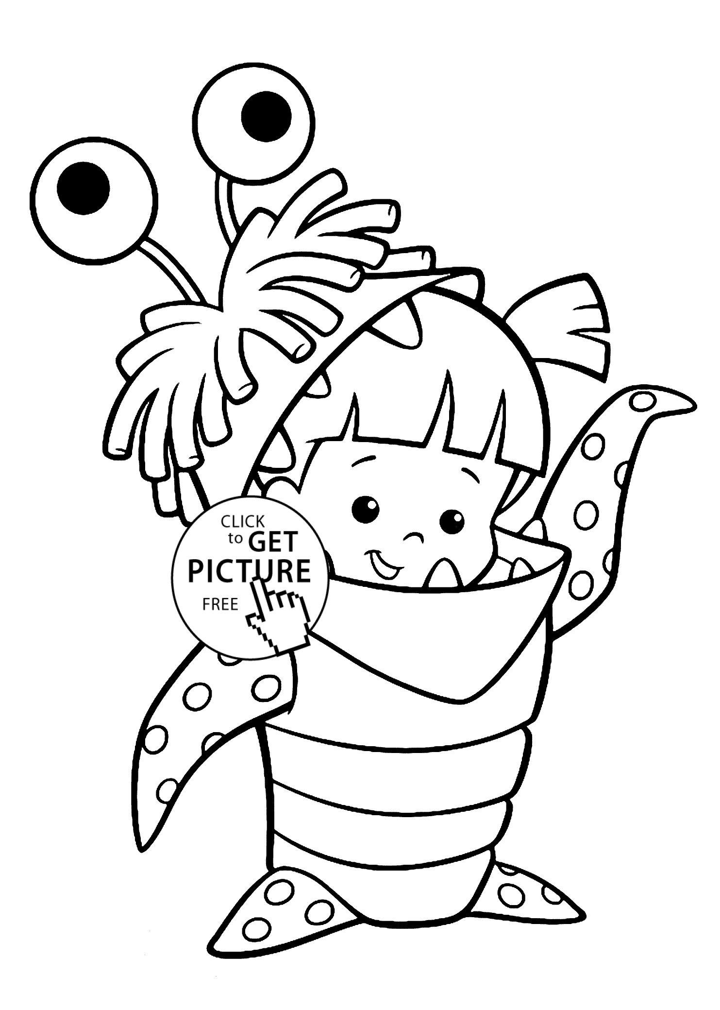 Monsters Inc Boo Coloring Pages Download Gambar Pensil Pola Gambar