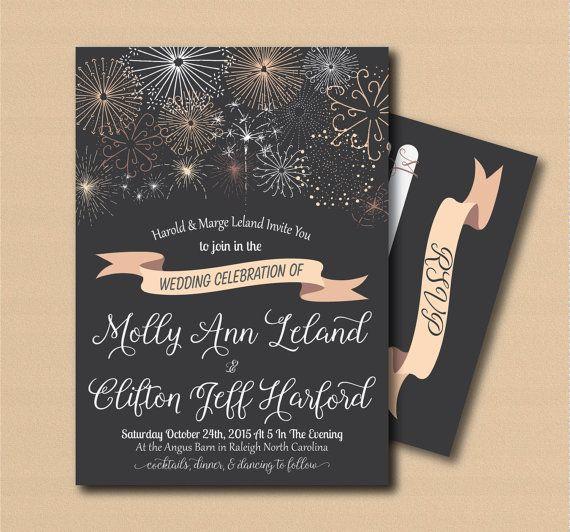 Printable Fireworks Wedding Invitation And Rsvp Print Yourself Digital Invi Wedding Fireworks Fireworks Wedding Invitations Diy Printable Wedding Invitations