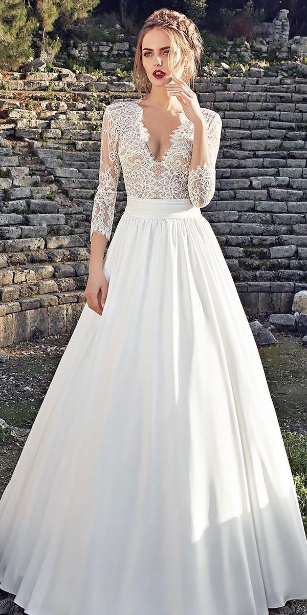 lace-a line long natural waist v neck long sleeve wedding dresses ...