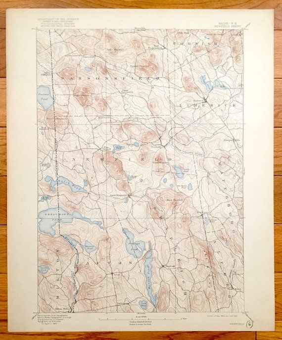 Parsonsfield Maine Map.Antique Newfield Maine 1893 Us Geological Survey Topographic Map