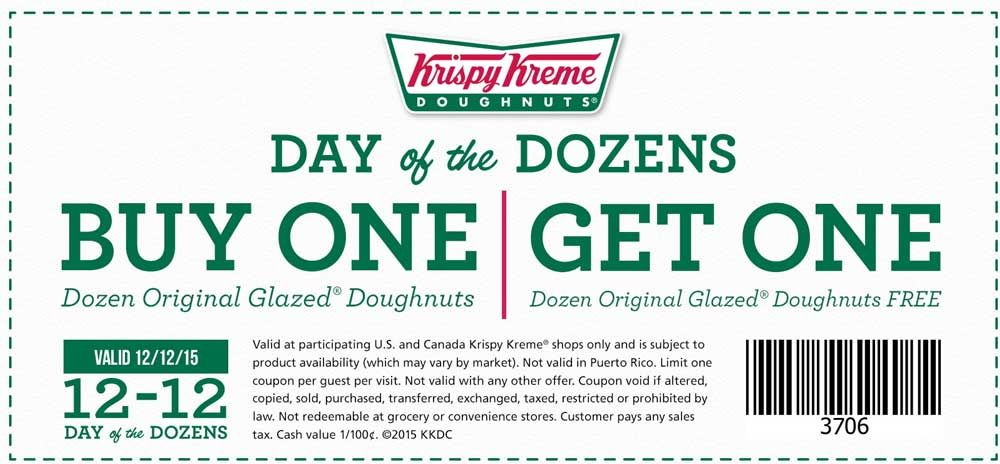 Pinned December 6th: Second dozen doughnuts free the 12th at #KrispyKreme #coupon via The #Coupons App