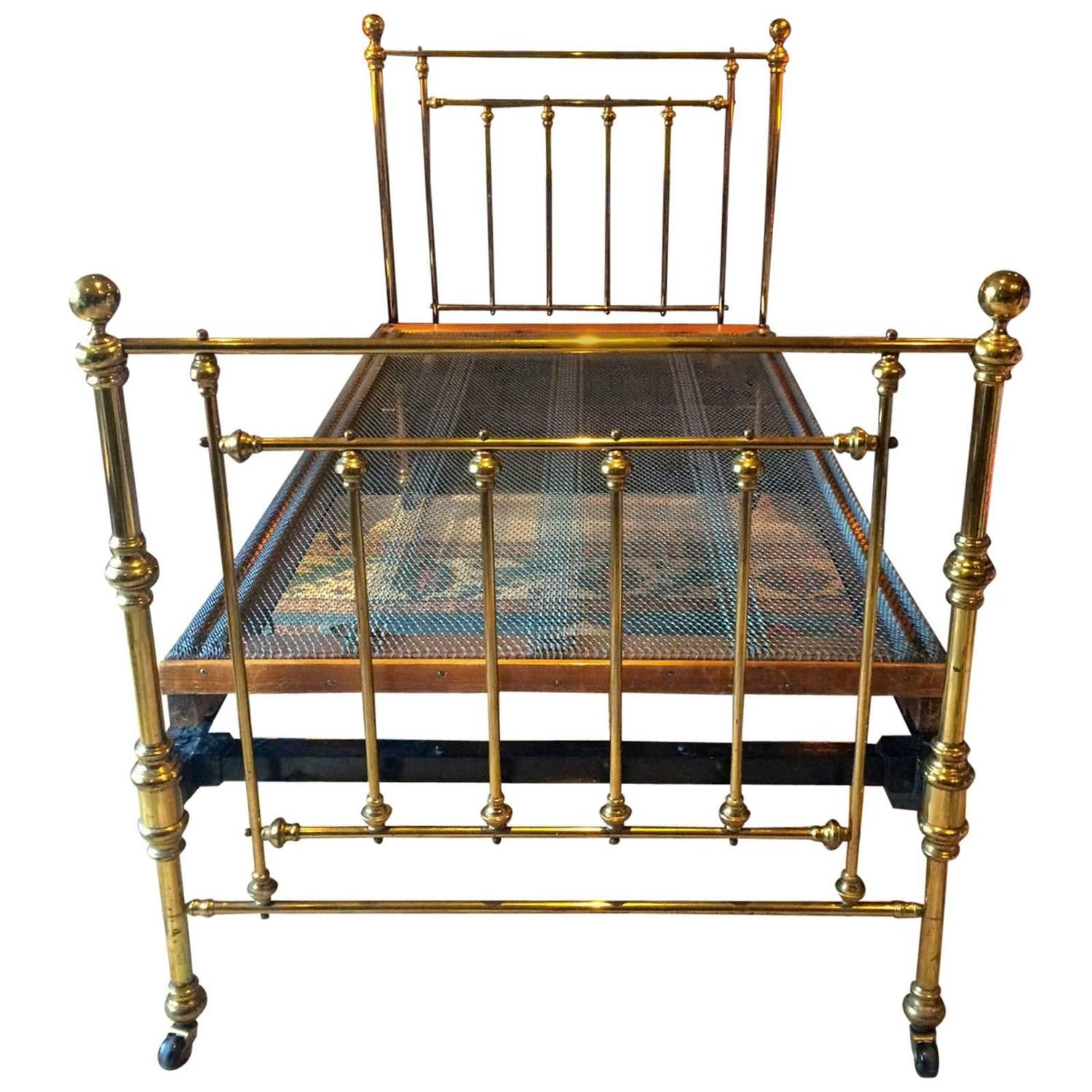 Antique Bed Victorian Single Brass Bed 19th Century Base Casters