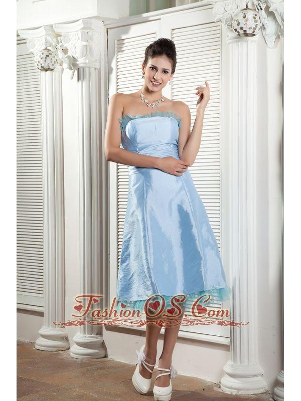 b7db8fe23657 Beautiful Baby Blue Bridesmaid Dress A-line Strapless Tea-length Taffeta  Ruch- $115.88