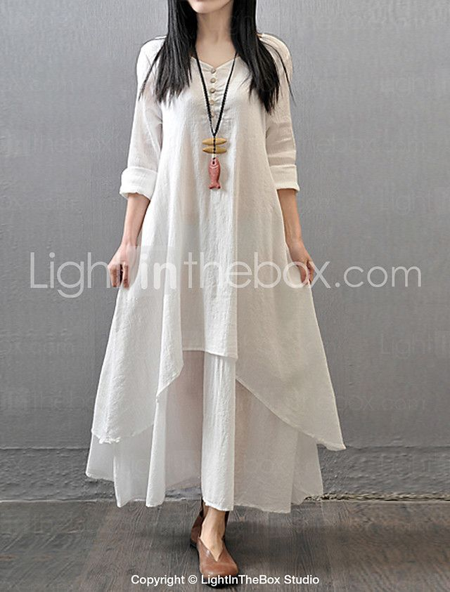 a5e51d2aed2 Women's Casual/Daily Simple / Chinoiserie Loose Dress,Solid V Neck Maxi  Long Sleeve Red / White / Yellow Cotton / Polyester Fall Mid Rise 2017 -  $16.99