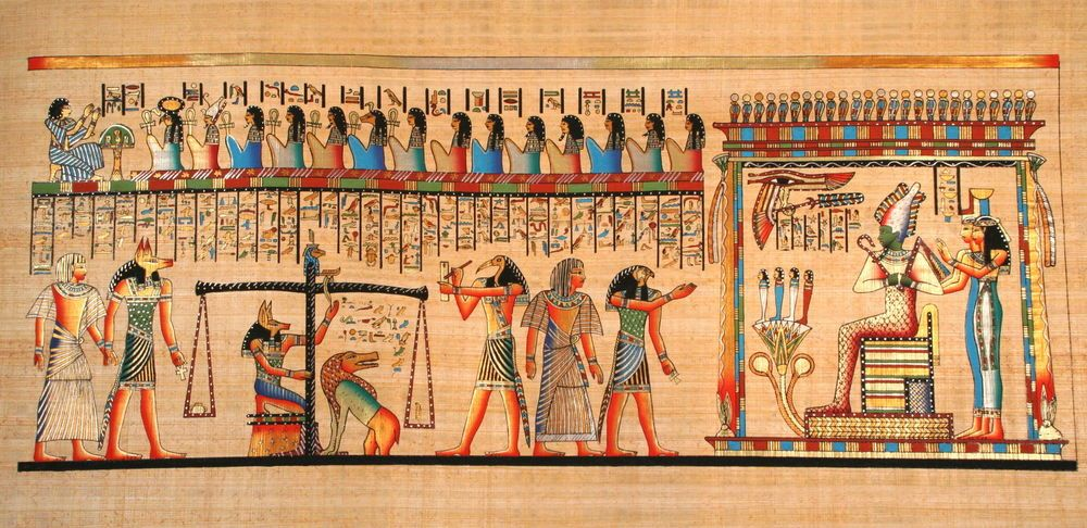 Egyptian Papyrus Large 16 X 36 Ancient Art Weighing Of The
