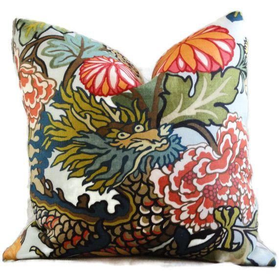 Pillow sham Accent Pillow Throw Pillow Toss Pillow Pair of Ebony Schumacher Chiang Mai Dragon Decorative Pillow Covers