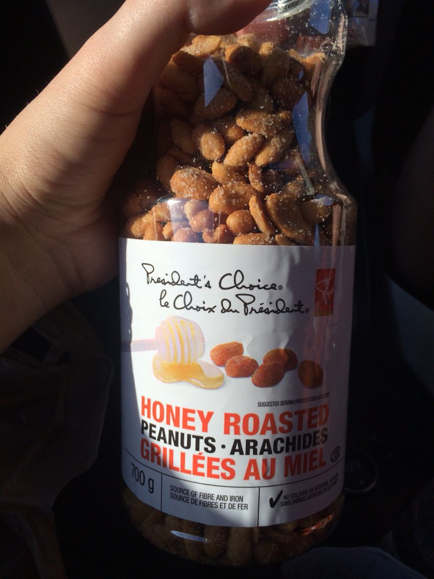 About a 1/4 cup of Honey Roasted Peanuts ... They're less calories than the plain and lightly salted ones, per 1/3 cup!!