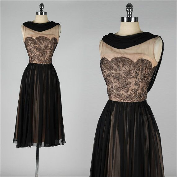 Vintage 1950s dress . black lace illusion . cocktail dress. | Time ...