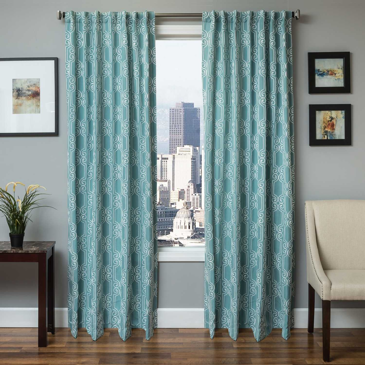Natural Solid Curtain Panel Turquoise 54 X108 Threshold