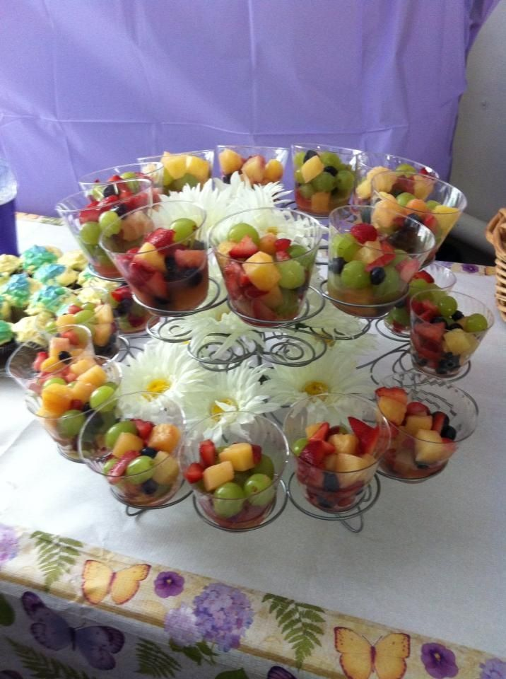 fruit cup centerpiece i made for a friends wedding shower
