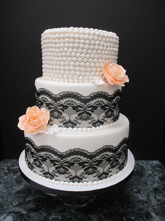 332 Black Lace and Pearl Wedding Cake Lancaster PA   Oregon Dairy      332 Black Lace and Pearl Wedding Cake Lancaster PA   Oregon Dairy  Supermarket