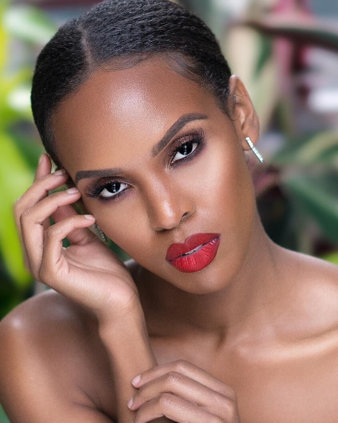 Image result for red lips on a woman black woman