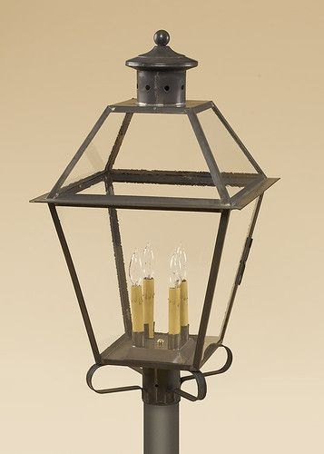 Post Light Brass Antique Style Lantern Colonial Light Outdoor Lighting