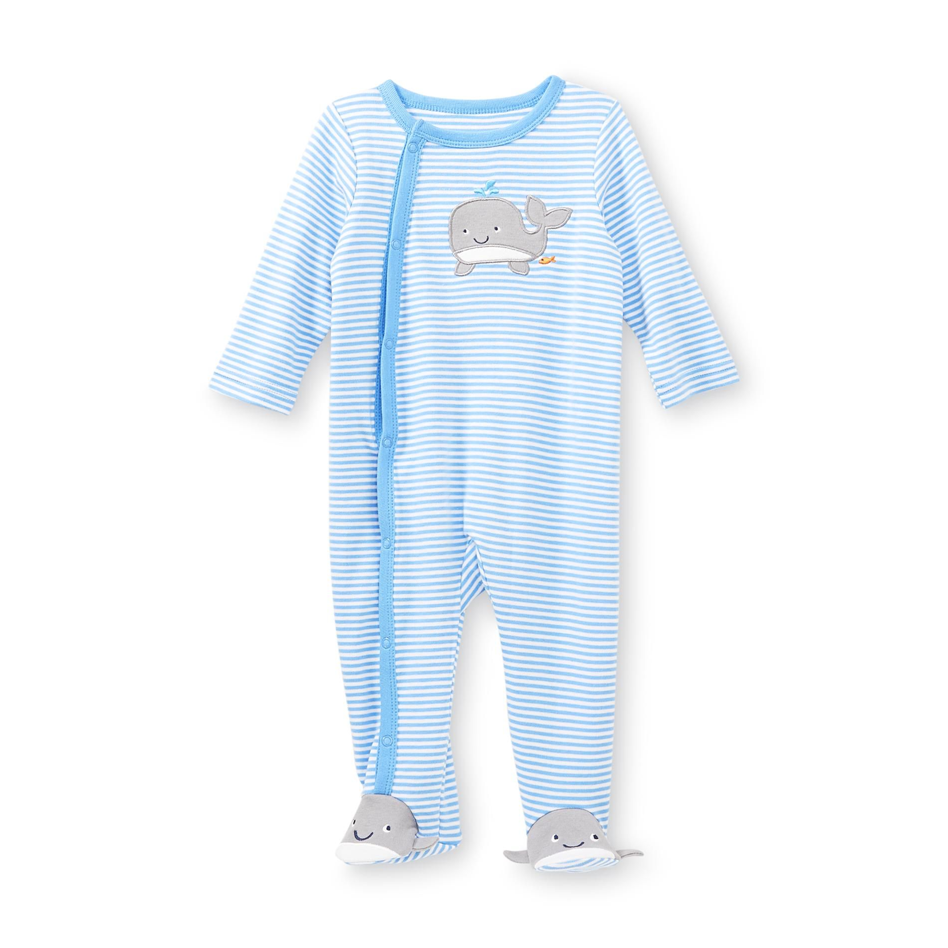 1276bc5e4 Swaddle your little one in these striped newborn boy s footed ...
