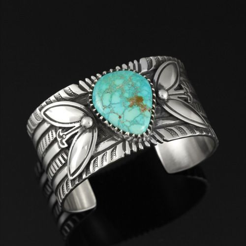 Wright's Indian Art: Bracelet with Lone Mountain Turquoise by Arland Ben