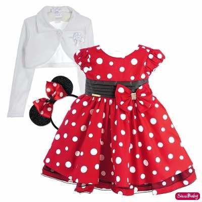 Vestido Minnie Vermelho Infantil Chique Com Tiara E Bolero - R$ 139 ...