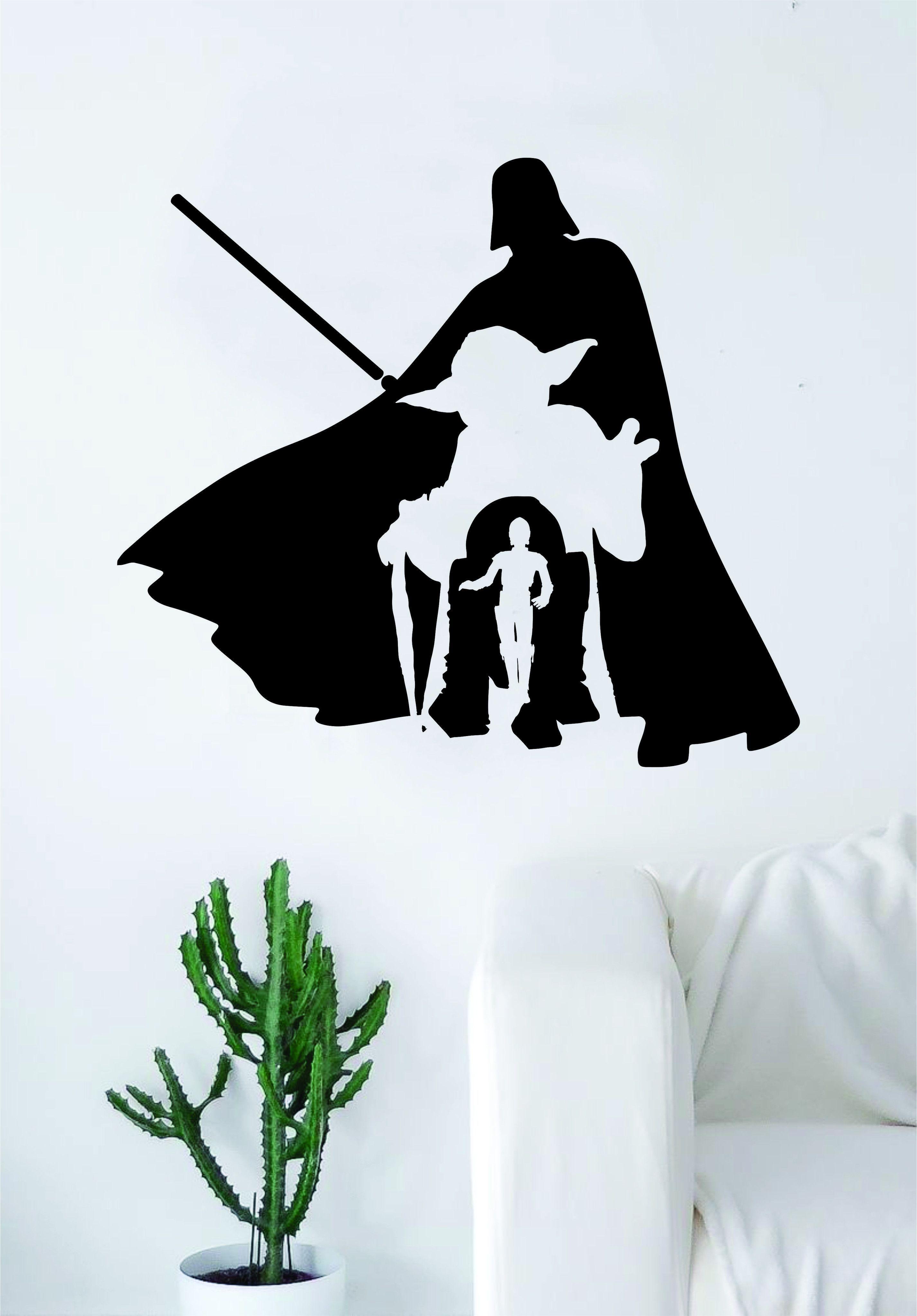 Star wars collage v2 quote decal sticker wall vinyl decor art room teen kids movies darth vader yoda r2d2 c3p0 jedi dark side