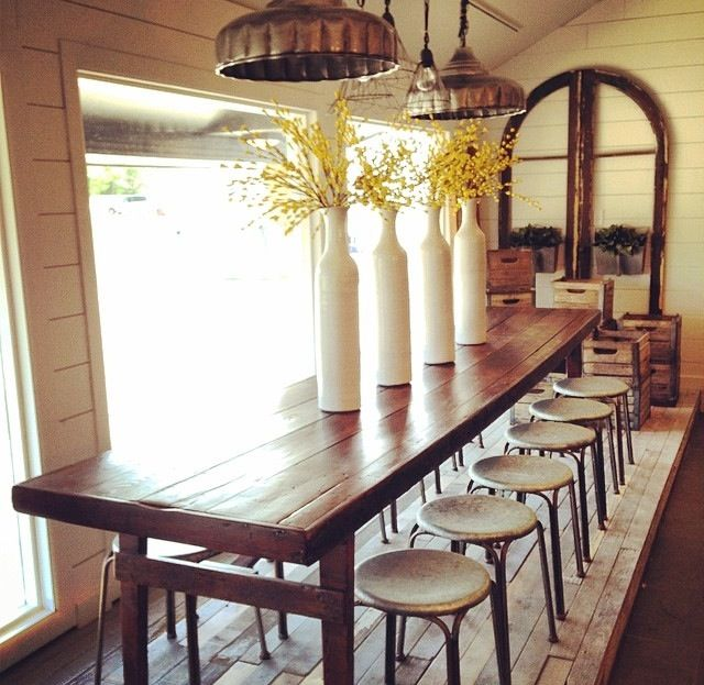 Joanna gaines love the table and stools great table for Joanna gaines dining room designs