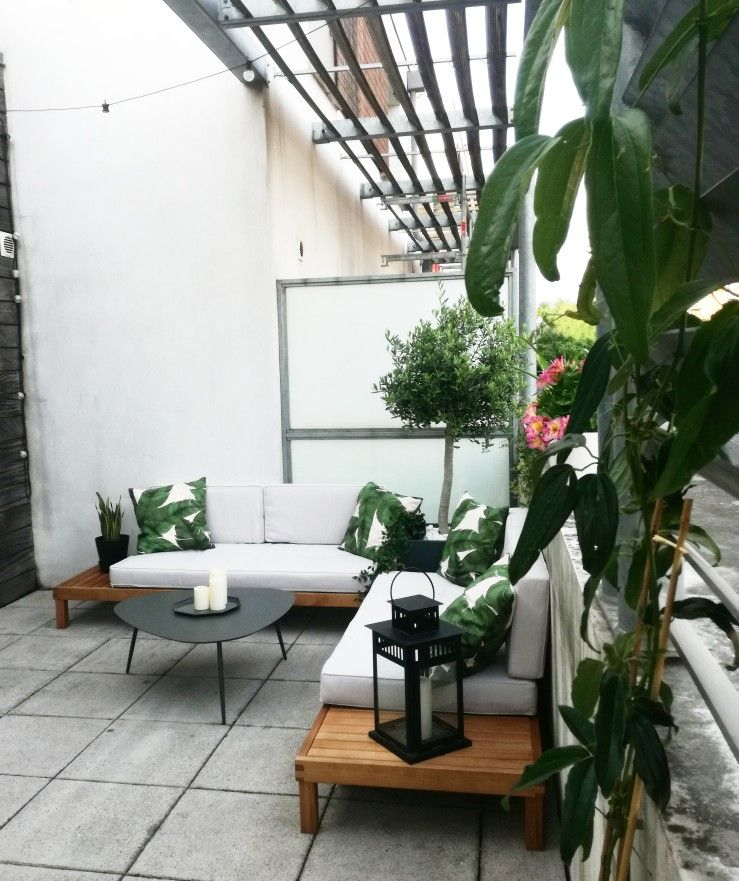 Décoration de ma terrasse. Style jungle. Coussins feuilles ...
