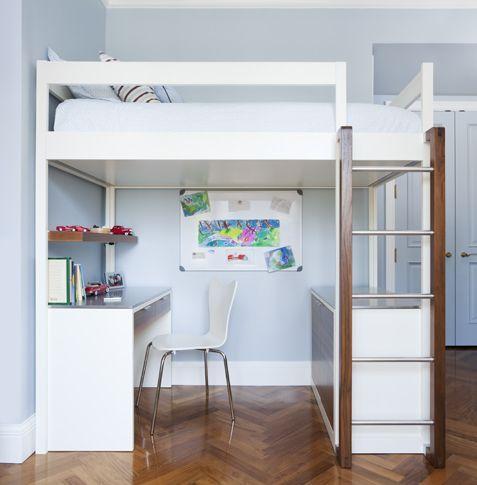 Loft Bunk Bed Modern Design In White Desk Credenza Below Top