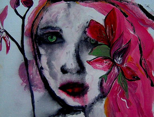 Flower figure art painting Flower Girl by Laura Carter #pink #flowers #portrait #woman #abstract #figure