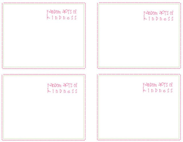 Blank Cards To Write In Your Own Rack Random Acts Of Kindness Card Template Kindness