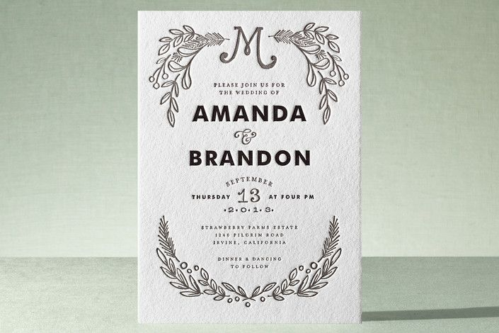 Chalkboard Letterpress Wedding Invitations by Alethea and Ruth at