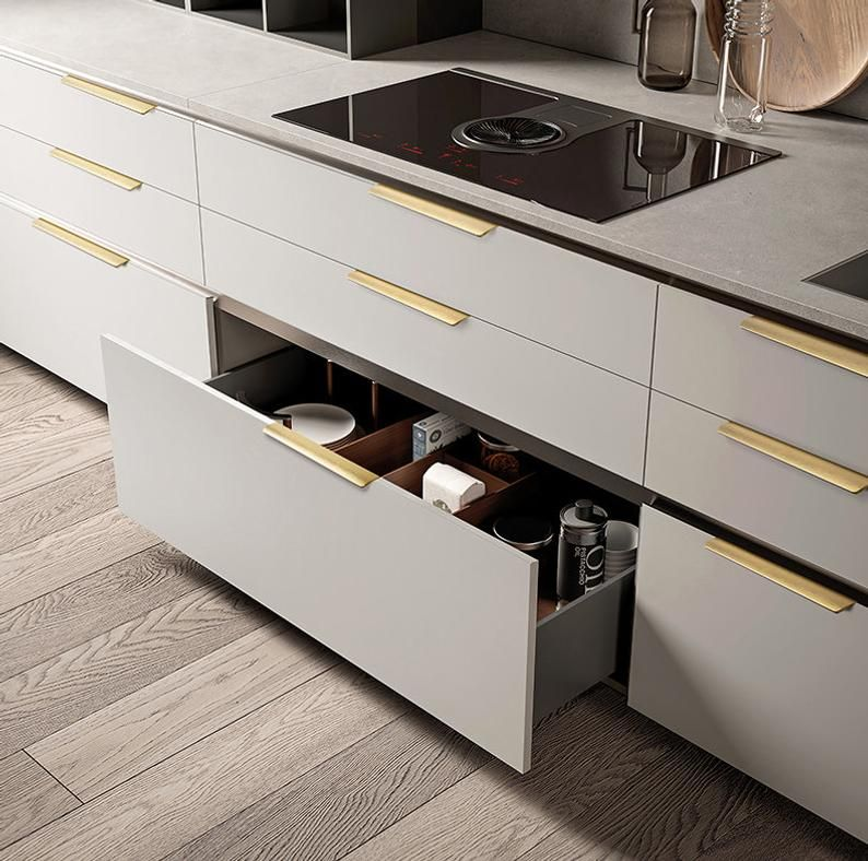 Brushed Brass Modern Cabinet Handles Concealed Kitchen Handle Etsy In 2020 Cupboard Handles Kitchen Drawer Pulls Drawer Handles