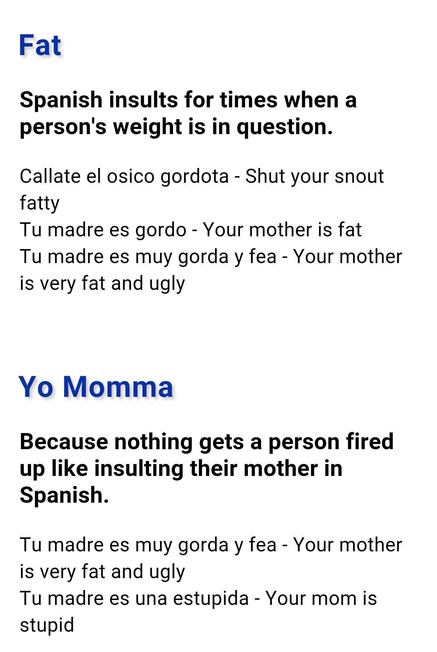 Spanish Curse Words Spanish Swear Words Learning Spanish How To Speak Spanish