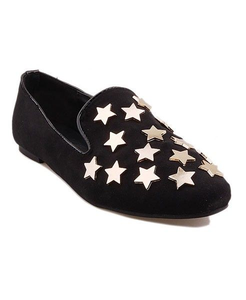Black PU Slim Shoes with Metal Star Embellish Front