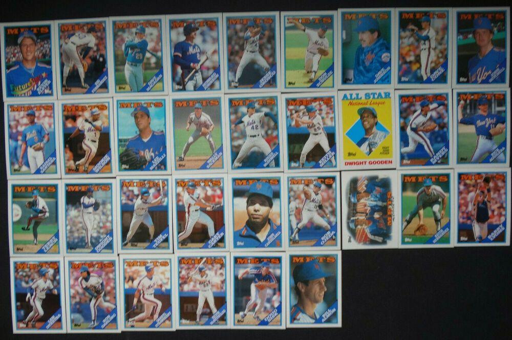 1988 topps new york mets team set of 35 baseball cards
