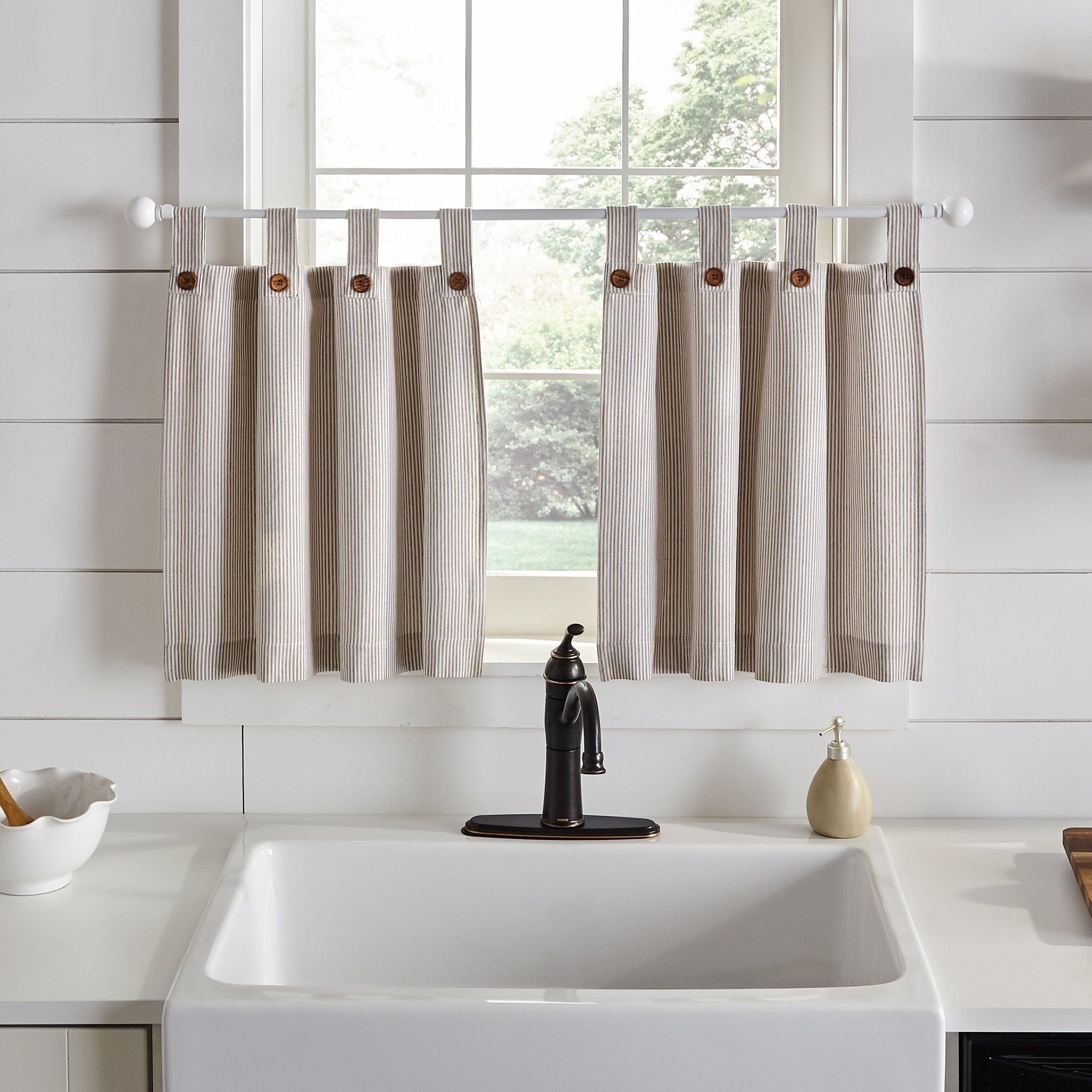 Tucker Ticking Stripe Button Tab Top Window Tier And Valance In 2020 Elrene Home Fashions Kitchen Window Curtains Kitchen Curtains