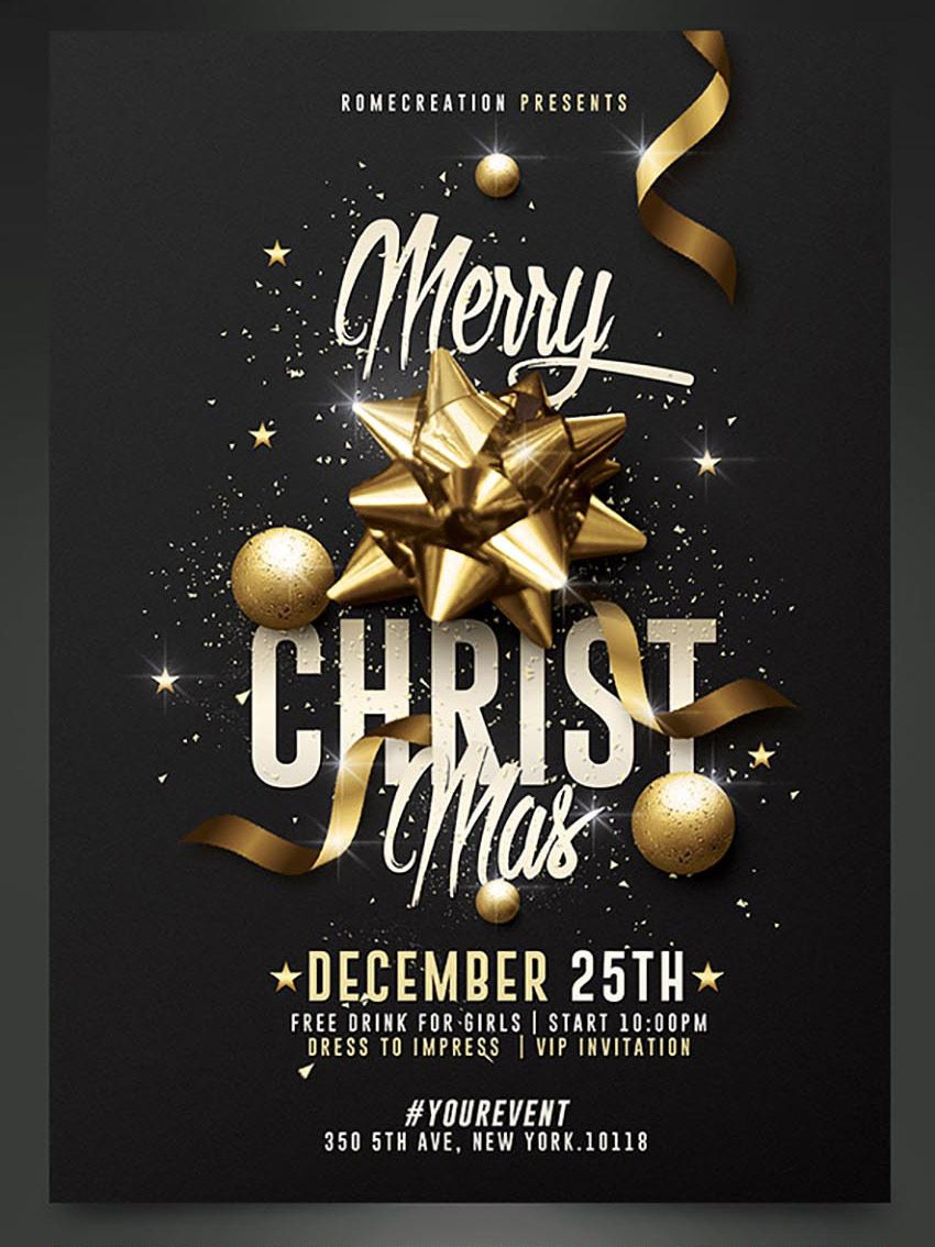 Classy Christmas Party Flyer Template Christmas Pinterest