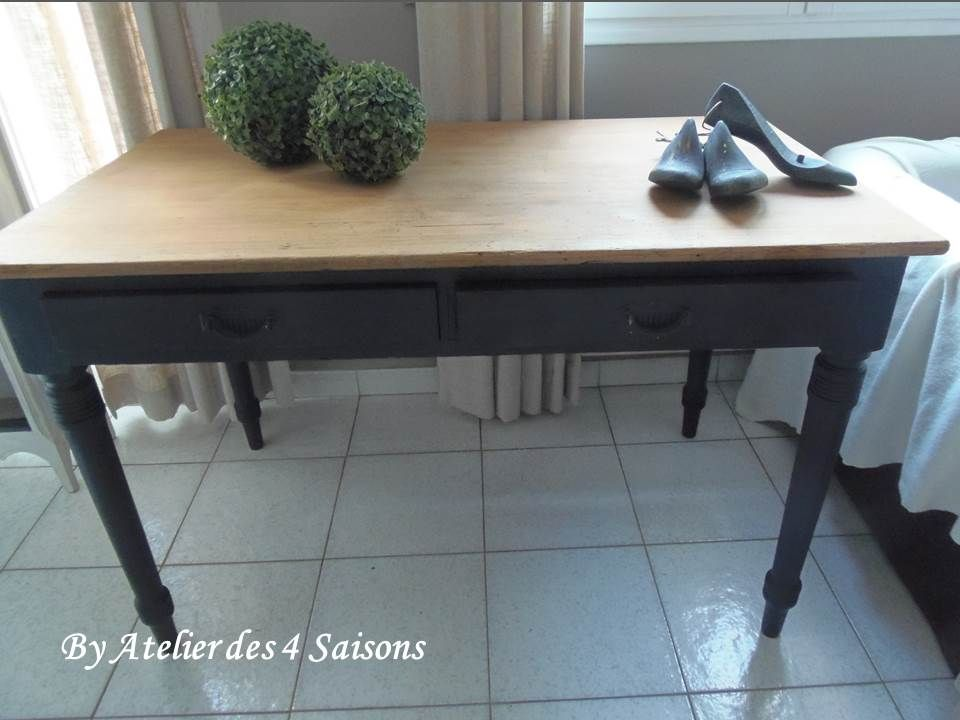 table bureau en pitchpin pi tement patin gris ardoise plateau bois prot g table table. Black Bedroom Furniture Sets. Home Design Ideas